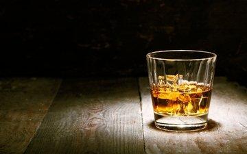 лёд, стакан, дерева, виски, алкогольный напиток, cтекло