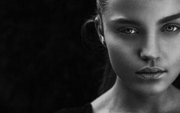 девушка, портрет, взгляд, красавица, белая, губки, блака