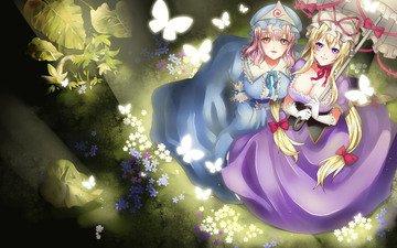 flowers, art, smile, look, girls, chest, umbrella, butterfly, saigyouji yuyuko, yakumo yukari, blackmoon, touhou