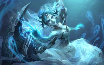 art, girl, weapons, look, magic, gesture, morgana, league of legends, koloromuj