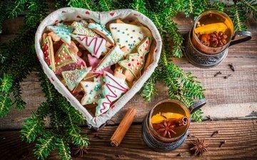 корица, чай, сладкое, печенье, выпечка, бисквит, новогоднее, елочная, baking
