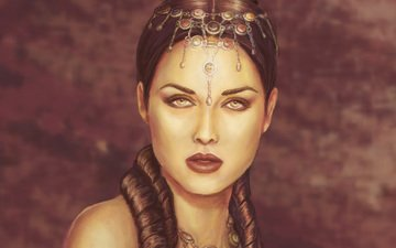 decoration, girl, look, shoulders, lips, face, makeup, hairstyle, queen, priestess