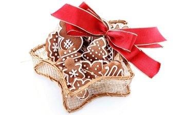 рождество, печенье, выпечка, бант, елочная, baking