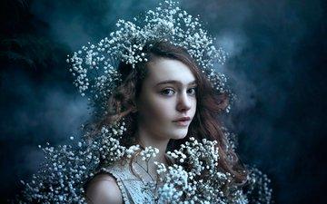девушка, портрет, цветочки, bella kotak
