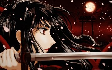 night, katana, blade, the full moon, red eyes, blood-c, kisaragi saya, a bloody mist