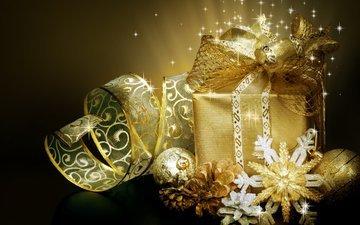 снежинки, черный фон, игрушки, подарок, ленточка, бантик, коробочка, елочная