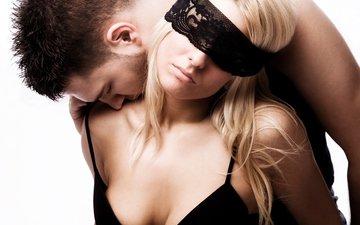 девушка, мужчина, поцелуй, бюстгальтер, блонд, boobs, воздушны поцелуй, сексапильная, бюсгалтер