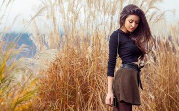 девушка, взгляд, юбка, модель, грудь, ножки, волосы, губки, celine