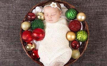 корзина, рождество, младенец, корзинка, детские, елочная