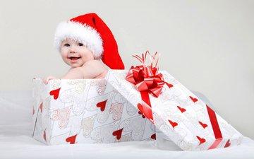 зима, ребенок, младенец, шапочка, детские, елочная, дитя