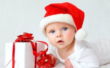 ребенок, шапка, малыш, подарок, рождество, младенец, детские, елочная, infant, дитя