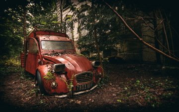 abandoned, citroen, decaying, rusty