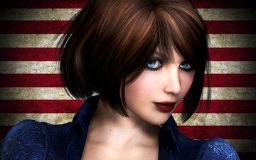 girl, look, rendering, the game, face, blue eyes, bioshock infinite, elizabeth