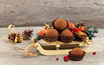 корица, сладости, выпечка, пирожные, новогодняя, кулич, елочная