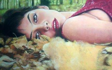 листья, девушка, взгляд, осень, волосы, лицо, зеленые глаза, макияж, живопись, красные губы