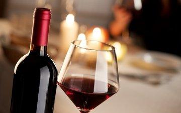 бокал, вино, напитки, бутылка, алкоголь, красное