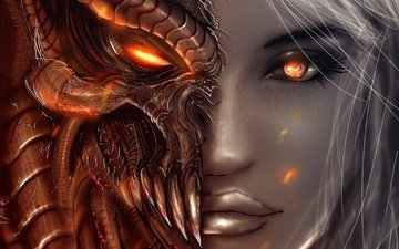 art, girl, angels, demons, look, angel, the demon, face, diablo 3