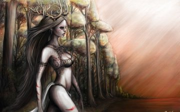 the sky, trees, water, forest, girl, look, horns, dryad, long hair