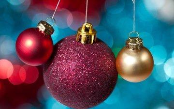 шары, макро, игрушки, праздник