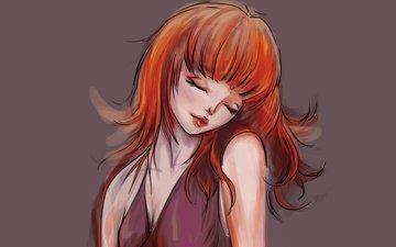 арт, девушка, фон, платье, рыжая, плечи, волосы, лицо, руки, живопись, закрытые глаза