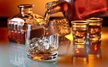 лёд, стакан, бокалы, алкоголь, виски, алкогольные напитки, cтекло