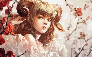 art, girl, look, horns, painting