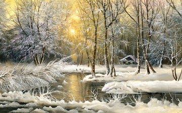 деревья, снег, зима, картина, холод, домик, живопись, маслом