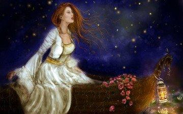 небо, цветы, девушка, платье, взгляд, лодка, фонарь, волосы, лицо, живопись, огоньки