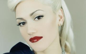 украшения, блондинка, взгляд, волосы, лицо, актриса, певица, макияж, прическа, красные губы, гвен стефани, автор песен