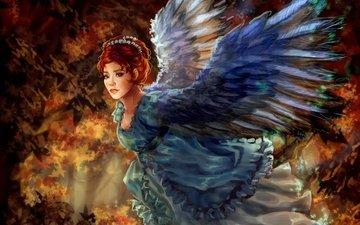 art, girl, wings, angel, painting