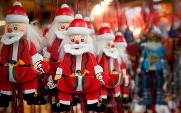макро, игрушки, праздник, санта клаус