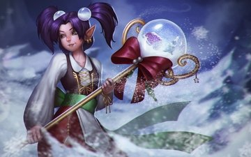 new year, winter, girl, staff, pearl, heroes of newerth, snowglobe pearl, crystal ball