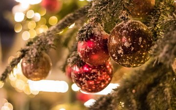 елка, шары, игрушки, праздник, игрушкишары