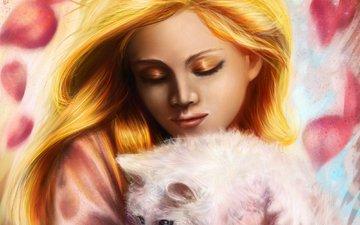 девушка, кошка, волосы, лицо, животное, макияж, живопись, белая, тени, золотистые, на руках