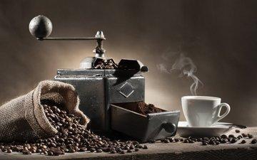 напиток, кофе, кофейные зерна, водопой, кофемолка, grind coffee beans, coffe