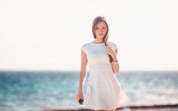 берег, девушка, улыбка, курорт, девушка на пляже, доминикана