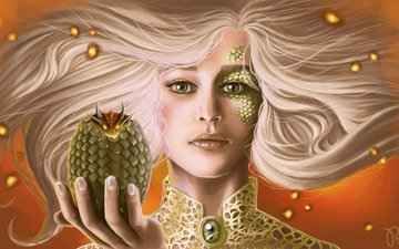 art, look, dragon, egg, white hair, game of thrones, scales, daenerys targaryen