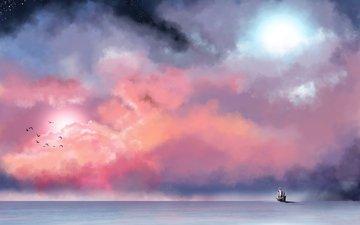 небо, облака, море, звезды, туман, корабль, птицы, живопись