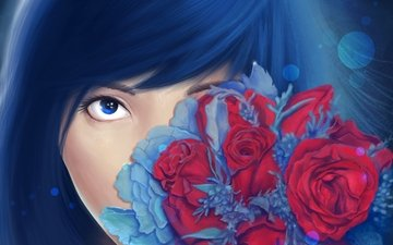 flowers, art, roses, look, bouquet, face, painting, girl. blue hair