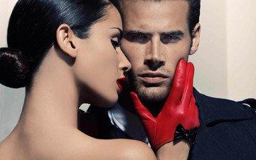 стиль, пара, мужчина, женщина, красные перчатки
