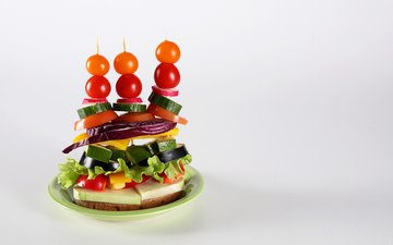 бутерброд, помидоры, помидор, перец, салат, огурец, фастфуд, быстрое питание, butterbrot, канапе