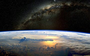 clouds, earth, space, stars, planet, horizon, the atmosphere, the milky way
