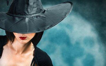 губы, женщина, шляпа, ушанка