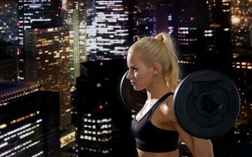 девушка, города, фитнес, тренировки