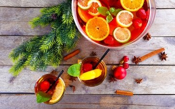 елка, корица, фрукты, лимон, плоды, чай, рождество, елочная