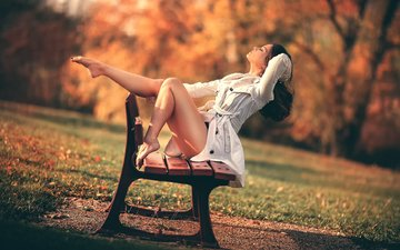 girl, park, autumn, legs, bench, freedom, laurent kc