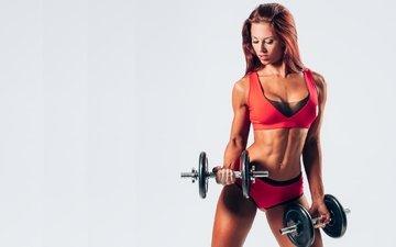 девушка, фитнес, спортзал, тренировка, упражнения