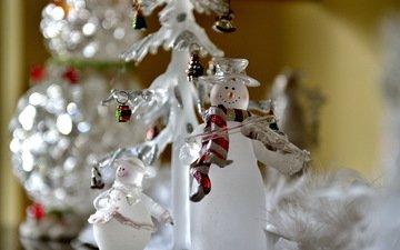 макро, снеговик, игрушки, праздник