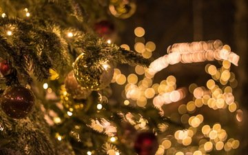 елка, шары, игрушки, праздник