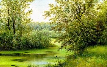 трава, деревья, природа, пейзаж, зелено, птица, живопись, цветочки, холст